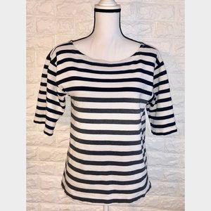 J Crew Navy White Gray Stripe Terry Shirt Sz S